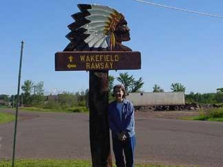Paula at the Wakefield sign