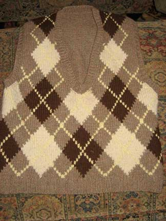 Brown and white argyle vest sweater